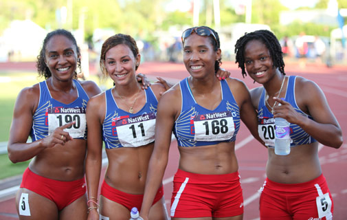 Top team: Shianne Smith, third right, was part of the successful women's 4 x 400m relay team on the final night of races at the National Sports Centre last Friday. Also pictured, from left, is Tamika Williams, Ashley Berry and Natasha Trott. *Photo by Earl A Jones