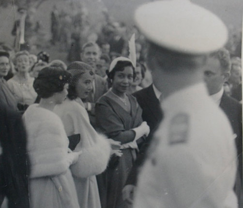 Royal presence: Georgine Hill, along with her husband Hilton Hill II, who was then a Member of Colonial Parliament, were among the dignitaries presented to the Queen and the Duke of Edinburgh during their 1953 royal visit to Bermuda. *Photo by Richard Saunders, courtesy of the Bermuda National Gallery and the Bermuda Archives